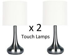 2 X Touch Table Lamp With Globe Gunmetal Chrome or Brass 3 Stage Touch Dimmer