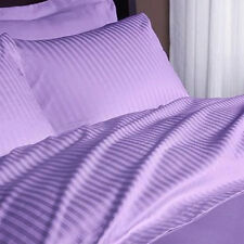 100% Organic Cotton Zipper Closer Duvet Set 5'PCs Purple Stripe 1000TC AU Size