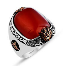 Turkish Men's Sterling Silver Ottoman Oval Red Agate with Tughra Ring