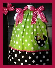 Custom Minnie Mouse Applique DRESS NAME 6M 24M 2T 3T 4 5 6  Lime green Polka dot