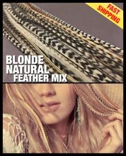 Feather Hair Extensions Grizzly Mixed Naturals 14Pack 2Free Tools Beads CraftKit