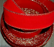 Decorative Ribbon 2m / 35mm Red Velvet with Gold Wired Edge /good for outdoors