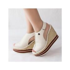 WOMEN SHOES DESIGNER TEXTURED BEIGE WOVEN PLATFORM WEDGE HEEL SANDAL