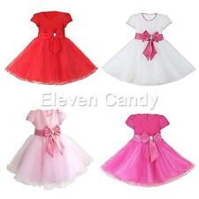 Girls Kids Bow Tulle Princess Evening Formal Party Wedding Ball Gown Prom Dress