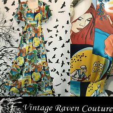 VINTAGE BOHO FOLK HIPPIE 1970's HAWAIIAN FLUTTER SLEEVE HAND MADE MAXI DRESS M/L