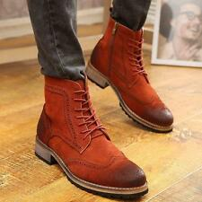 Mens Lace Up Ankle Boots Brogue England Wing Tip Dress Suede Leather Block Shoes