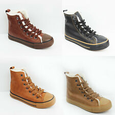NEW WOMENS LADIES FLAT LACE UP HI TOP PUMPS PLIMSOLLS TRAINERS SHOES SIZE 3-8