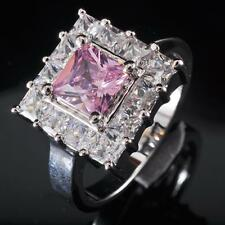 New Lover Gift White Topaz & Pink Kunzite Quartz S80 Silver Gemstone Ring