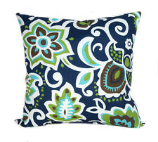 Navy Outdoor Pillow, Decorative Floral Throw Pillow in Navy, White, Green, Brown