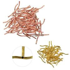 50 Pcs 24mm Engraved Pattern Tube Curved Noodle Brass Beads DIY Jewelry Findings