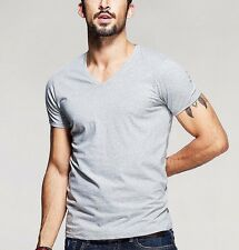 Mens Slim Fitted Casual T-Shirt Cotton Short Sleeve V Neck  Basic Tee M~2XL