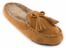ISOTONER Women's Woodlands Microsuede Hoodback Moccasin Slippers with Tassel