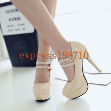 Womens Stiletto Heel Ankle Strap Patent Leather Mary Jane Dress Party Shoes Plus