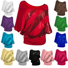 New Fashion Women Long Sleeve Sequins Casual T-Shirts Batwing Solid Tops Blouse