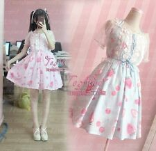 Mori Girl Sweet Lolita Woman Strawberry Kawaii Chiffon Dress Pink /Blue Gothic#A