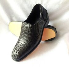 NEW!!!GENUINE CROCODILE LEATHER CAIMAN HORNBACK SKIN BLACK LOAFERS SHOES MENS