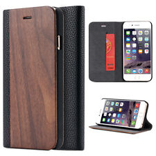 Flip Wallet  Wooden Leather Credit Card Stand Cover Case for iPhone 6 6S Plus