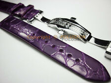 18mm Purple Genuine Alligator Leather Watch Strap Band Deployment Buckle Clasp