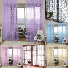 Floral Scarf Sheer Voile Door Window Curtain Drape Panel Tulle Valances Divider