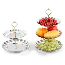 2-3 Tier Fruits Cakes Desserts Plate Stand Gold Silver Stainless Steel Plate a