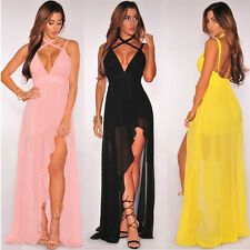 Sexy Womens Slim Irregular Long Maxi Dress Ladies Evening Cocktail Party Dresses