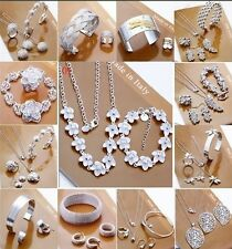 Wholesale jewelry solid 925SILVER /Necklace/ Bracelet /Earring/ring set + box