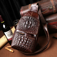 Genuine Leather Messenger Shoulder Bag Men Crocodile Trend Sling Chest Back Pack