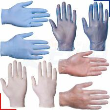 Disposable Latex Clear, Nitrile or Vinyl Blue Gloves - Powdered or Powder Free