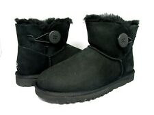 NEW WOMEN BOOT UGG AUSTRALIA MINI BAILEY BUTTON BLACK 3352 ORIGINAL