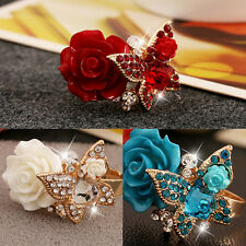 Resin Rose Flower Butterfly Open Adjustable Finger Crystal Wedding Rings Jewelry