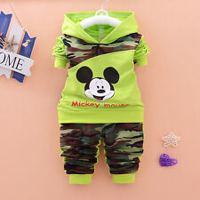 Spring Autumn Kids Boys Girls Mickey Mouse long sleeve Hooded Tops+Pants Sets