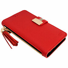 Womens RED PU Leather Flip Wallet Purse Case Credit Card Holder iPhone 6 6S Plus