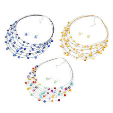 Beaded Multi Strand Necklace and Drop/Dangle Earring Set HP