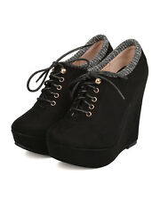 New Women DbDk Lolaa-5 Faux Suede Lace Up Sweater Collar Platform Wedge Bootie
