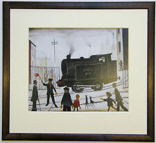 L.S Lowry LEVEL CROSSING Framed Steam Train Engine Picture