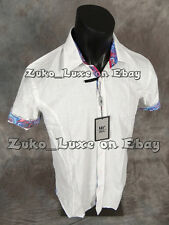 "Mens MIZUMI Short Sleeve Button Sport Shirt Speck White Designer Trim ""Slim Fit"""