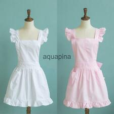 Victorian Lace Bib APRON Pinafore Theatre Play Costume Clothes Dress Pink/White