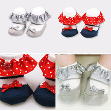 Newborn Toddler Baby Girl Lace Bow Anti-slip Princess Socks Cotton Slipper Shoes