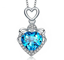 Lady Austrian Crystal Heart Diamond Pendant Necklace 18K White Gold GP N131b