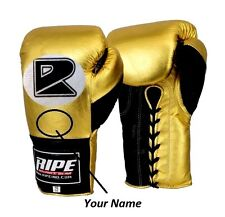Ripe Golde printed Professional Fight BOXING Gloves 8-20oz Black&Silver MMA,UFC