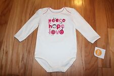 NWT Gymboree Brand New Baby Girl Peace/Hope/Love Bodysuit 3-6 and 12-18 months