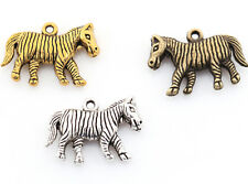 20pc Zebra Charms Antique Silver/Golden/Bronze Zinc Alloy Pendants Make Necklace