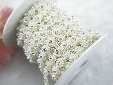 10mm Ivory Pearl Rhinestone Chain Trims Sewing Crafts Costume Applique LZ26
