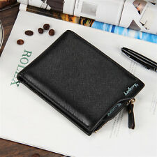 Business Billfold Pocket Mens Leather Zipper Coin Wallet Card Holder short Purse