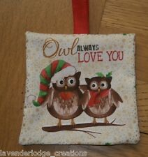 Christmas Tree Hanging Decorations. Fun Quirky Owl Designs. Greeting Card Gifts