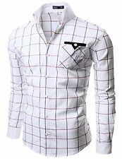 W005-WHITE-L Doublju Mens Casual Slim Fit Plaid Shirts- Choose SZ/Color.