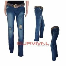 Womens Ripped Jeans Blue Washed Straight Leg Sexy Low Rise Hipster Sz 6 8 10 12