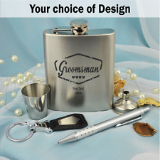 Groomsman Engraved Hip Flask Gift Set - Personalised - Add a Name & Message