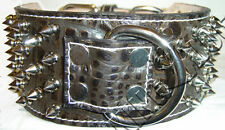 """3"""" Wide Crocodile(Embossed Cow) Leather Dog Collar Spiked Center D-Ring"""