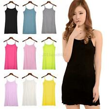 Spaghetti Strap Cotton Camisole Tunic Long Basic Plain Tank Top With Shelf Bra